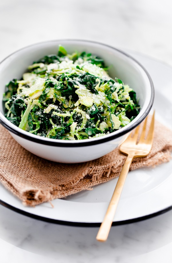 Shaved Broccoli, Brussels Sprouts, and Kale Salad with Truffle Parmesan Dressing. Hearty and filling!