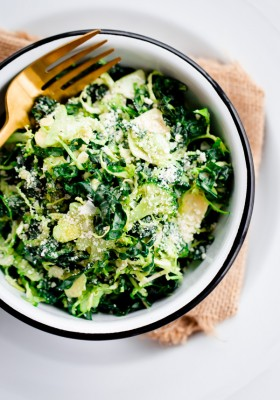 Brussels Sprout, Kale, and Broccoli Salad with Truffle Parmesan Dressing. Hearty and filling!