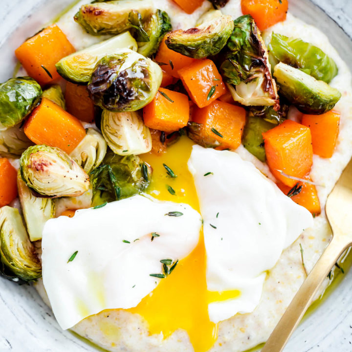 Creamy Goat Cheese Grits with Roasted Brussels Sprouts and Squash and Poached Eggs