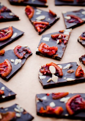 Blood Orange Almond Chocolate Bark