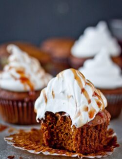 Gingerbread Cupcakes with Marshmallow Frosting - one of my favorite holiday cupcake recipes!