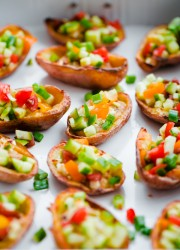 Healthy Oven Roasted Potato Skins with Hummus