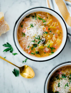 Slow Cooker Winter Minestrone Soup with Red Lentils. An easy vegetarian soup for winter!