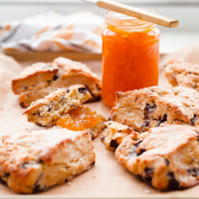 Orange Chocolate Chunk Scones with Orange Glaze