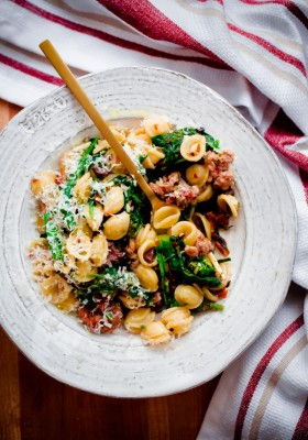 Orecchiette with Spicy Sausage, Broccoli Rabe, Sun-Dried Tomatoes, and Olives