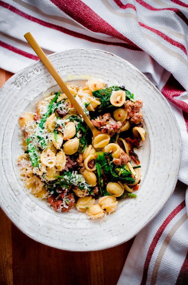 Orecchiette with Spicy Sausage, Broccoli Rabe, Sun-Dried Tomatoes, and ...