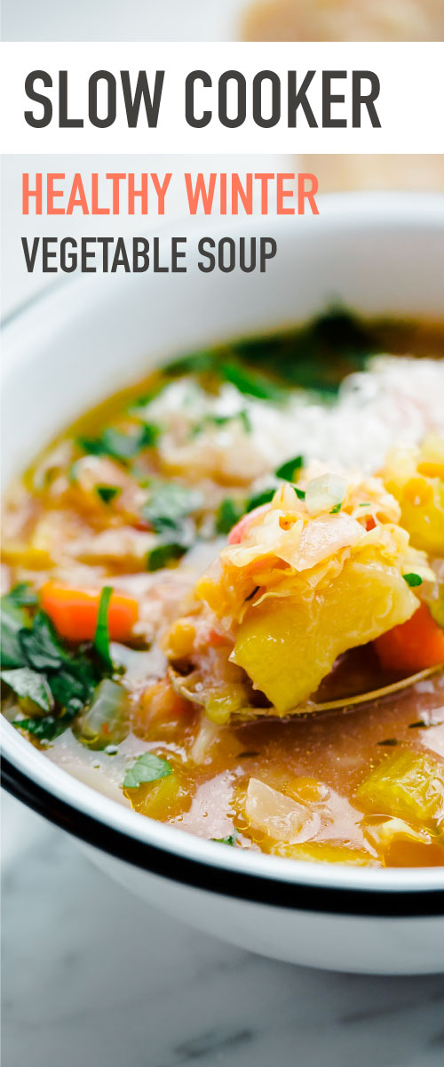 Slow Cooker Winter Minestrone Soup with Red Lentils. An easy healthy crockpot soup for winter!