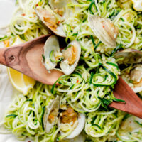 Zucchini Pasta with Garlic Clam Sauce