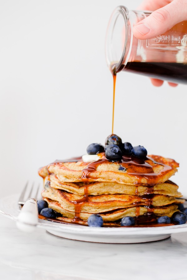 Blueberry Rye Pancakes with Molasses Syrup