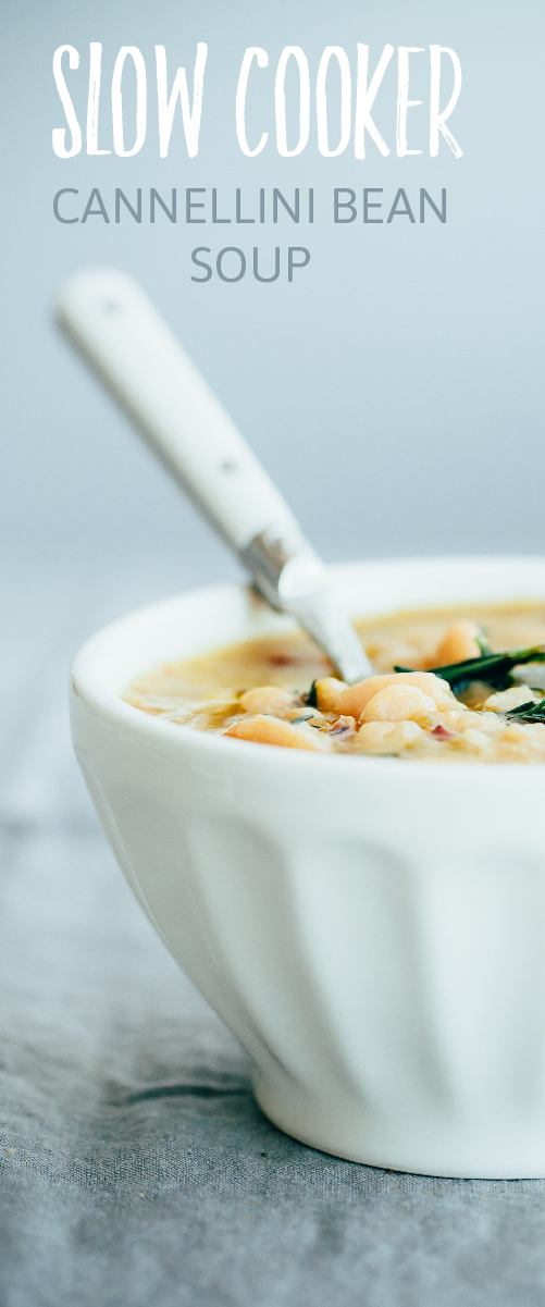 Slow Cooker Cannellini Bean Soup with Fresh Rosemary. An easy, healthy crockpot soup recipe!