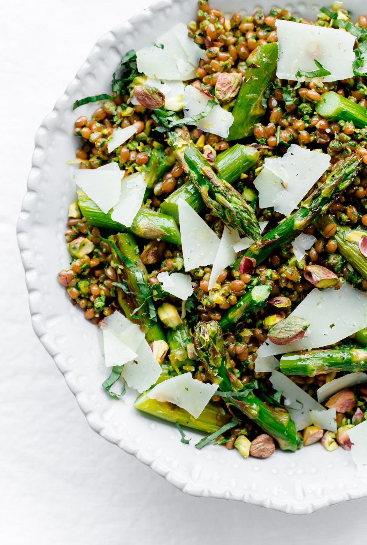 Roasted Asparagus Wheat Berry Salad with Arugula Pistachio Pesto - A ...
