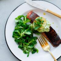 Brown Sugar and Chili Rubbed Salmon with Avocado Crema
