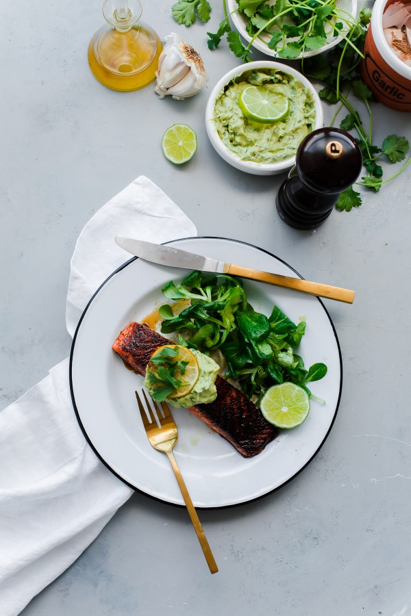 Brown Sugar and Chili Rubbed Salmon with Avocado Crema