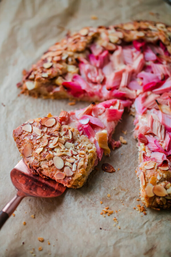 Rhubarb Galette with Orange Frangipane - a simple whole grain tart filled with fresh rhubarb and almond filling.