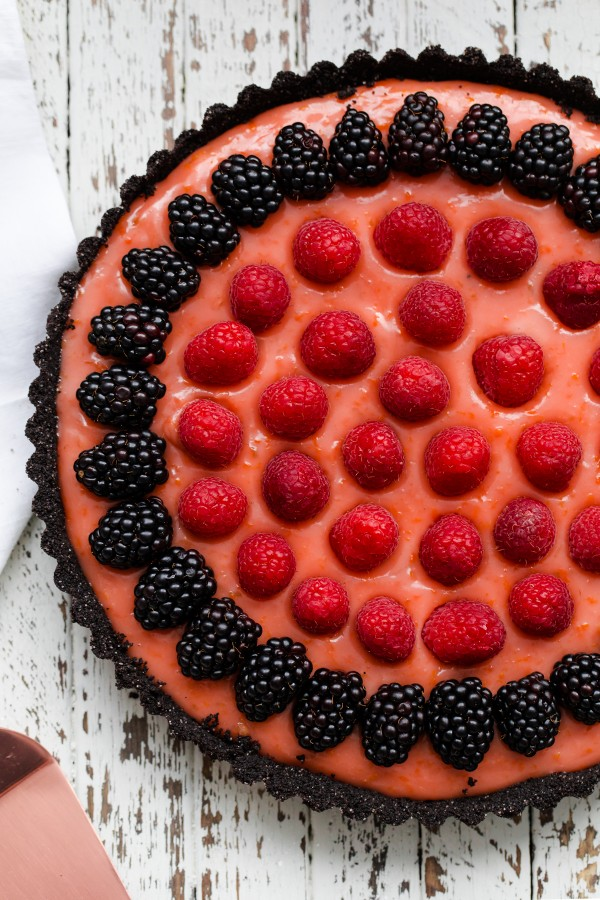 Triple Citrus Tart with Berries and Chocolate Crust
