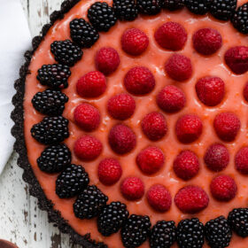 Triple-Citrus Tart with Chocolate Crust and Berries
