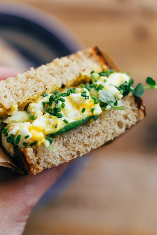 High Maintenance Egg Salad Sandwich with Watercress, Chives, and Homemade Mayonnaise
