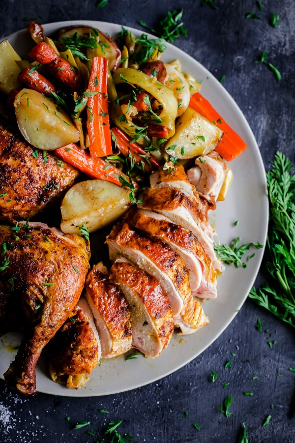 Middle Eastern spatchcocked roast chicken with vegetables - this delicious, easy, simple roast chicken recipe comes together with just one roasting pan.