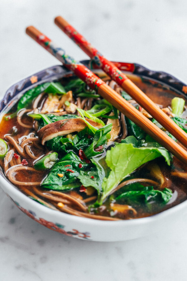 Love and Lemon's Shiitake and Spinach Miso Soup - an easy, vegan soup that can be made in less than 45 minutes!