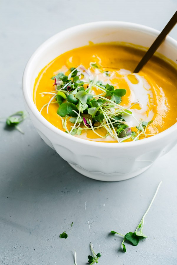 Vegan Garam Masala Carrot Soup. This easy, creamy soup comes together in less than 45 minutes, using just a sheet pan and blender.