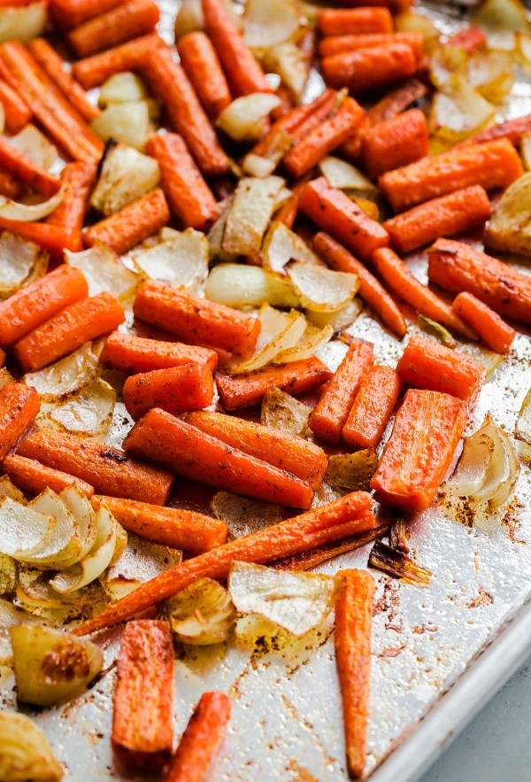 Roasted Carrots and Onions on Sheet Pan