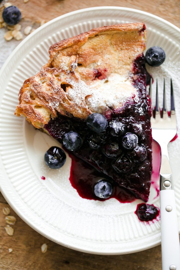 Gluten Free Dutch Baby Slice with Blueberries
