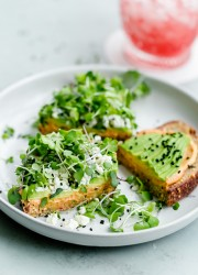 Spicy Hummus Avocado Toast with Feta