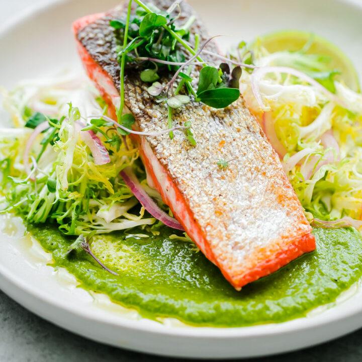 Seared Sockeye Salmon with Green Adobo Sauce and Frisée Salad