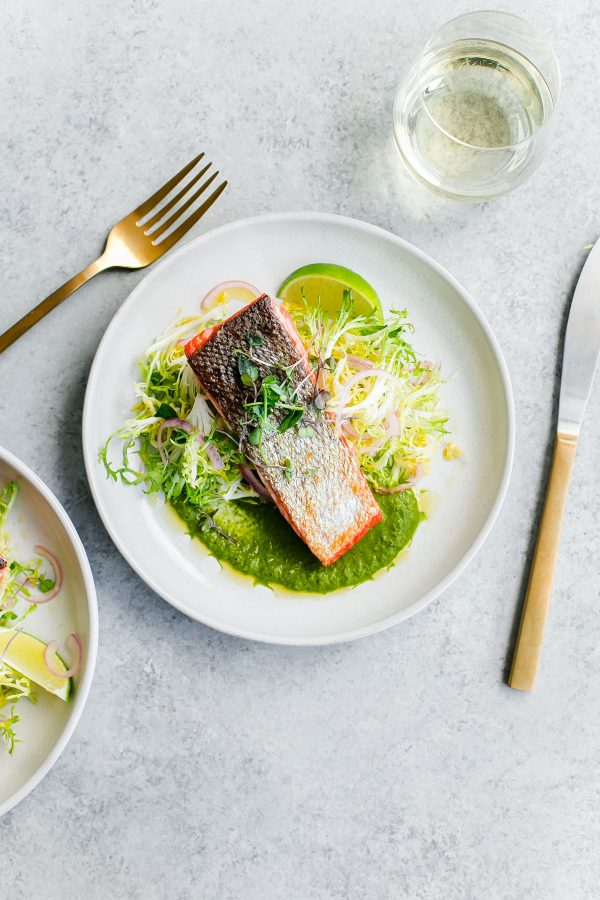 Seared Sockeye Salmon With Green Chile Adobo Sauce And