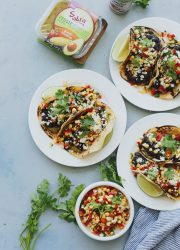 Southwestern Black Bean Tacos. These vegetarian tacos are topped with a fresh corn salsa!