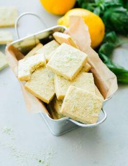 Lemon Basil Shortbread Cookies. Classic shortbread cookies infused with homemade lemon basil sugar!