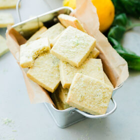 Lemon Basil Shortbread Cookies. Classic shortbread cookies infused with homemade lemon basil sugar!