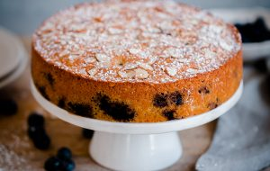 Blueberry Almond Tea Cake. A simple almond cake recipe studded with fresh blueberries and sliced almonds!