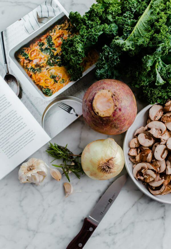 Rutabaga Baked Ziti with Mushrooms and Kale. A healthy twist on baked ziti made with rutabaga noodles! You'd never believe how hearty this is.