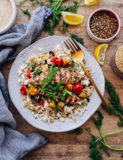 Za'atar Grilled Chicken Bulgur Bowls with Tahini Sauce