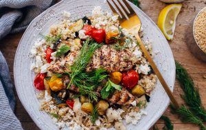 Za'atar Grilled Chicken Bulgur Bowls with Tahini Sauce