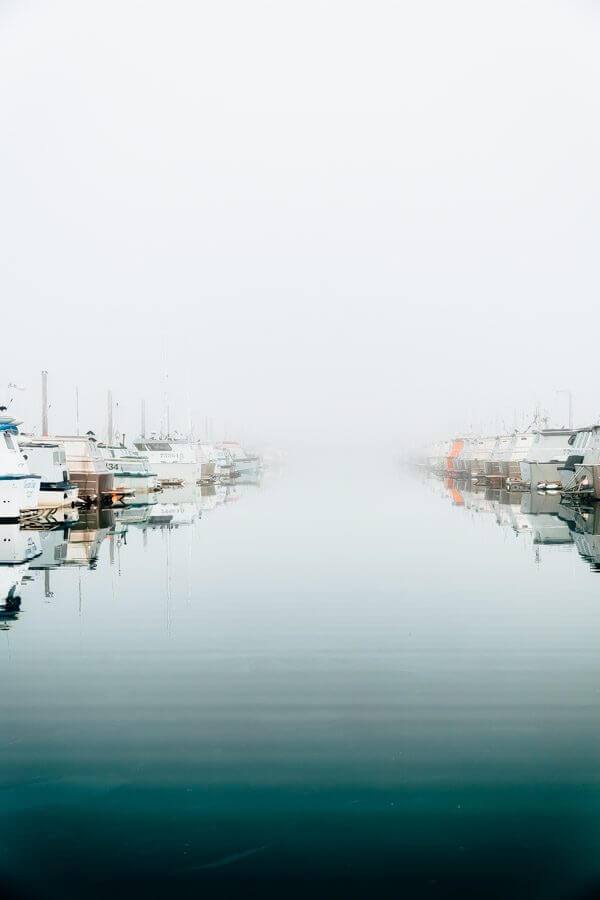 Foggy docks of Cordova, Alaska