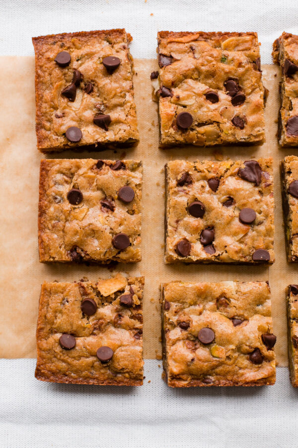 Chewy never fail blondie bars come together with just a bowl and a spoon. Mix up with your favorite add-in's and have these ready before the oven preheats!