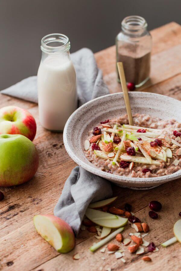 Slow Cooker Steel Cut Oats with Apple and Cranberries. A delicious, healthy crockpot breakfast that is ready for you when you wake up!