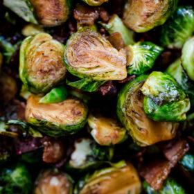Maple Bacon Brussels Sprouts. Sweet and salty Brussels sprouts side dish with crispy bacon, balsamic vinegar, and maple syrup!