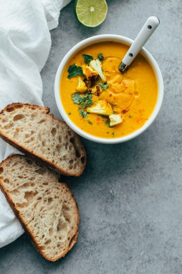 Roasted Cauliflower Soup with Coconut and Turmeric - A