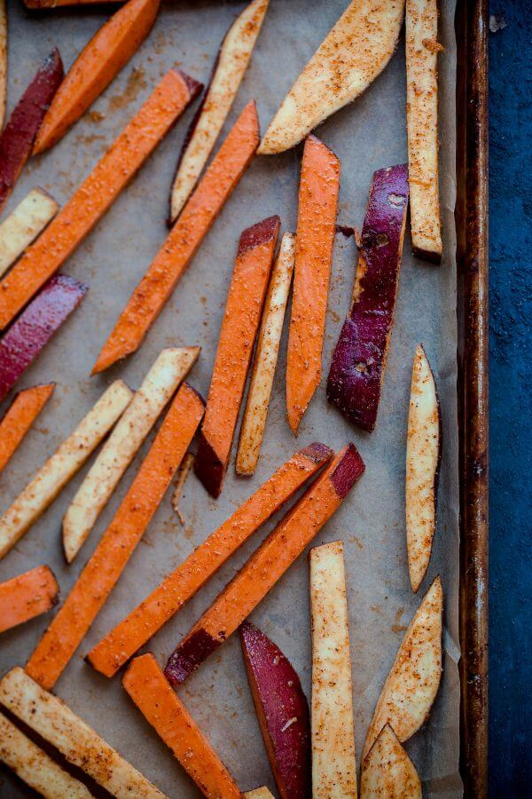 Crispy Baked Spiced Sweet Potato Fries with Garlic Aioli. A comforting fall appetizer or snack!