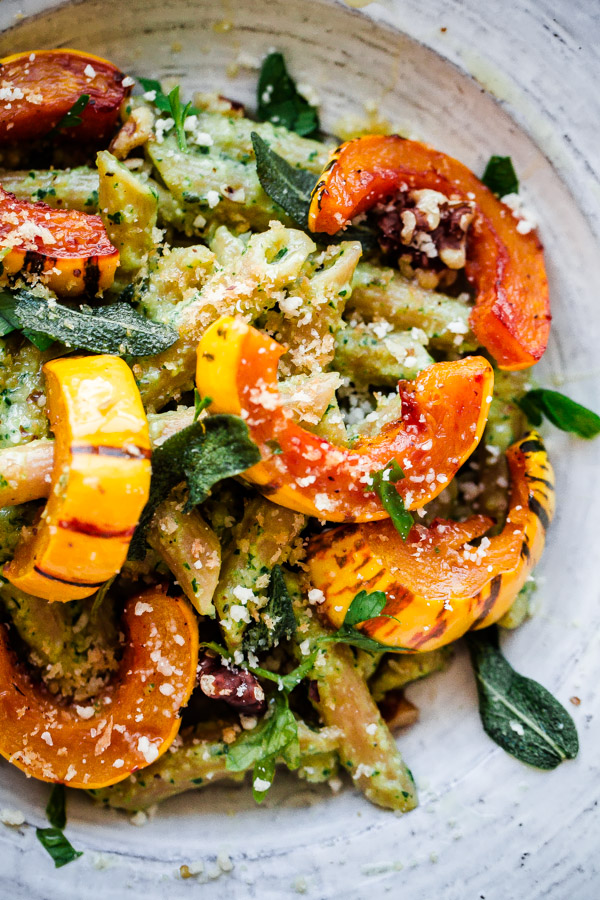 Healthy Winter Recipes: Whole Wheat Penne Pasta with Walnut-Sage Pesto and Roasted Delicate Squash