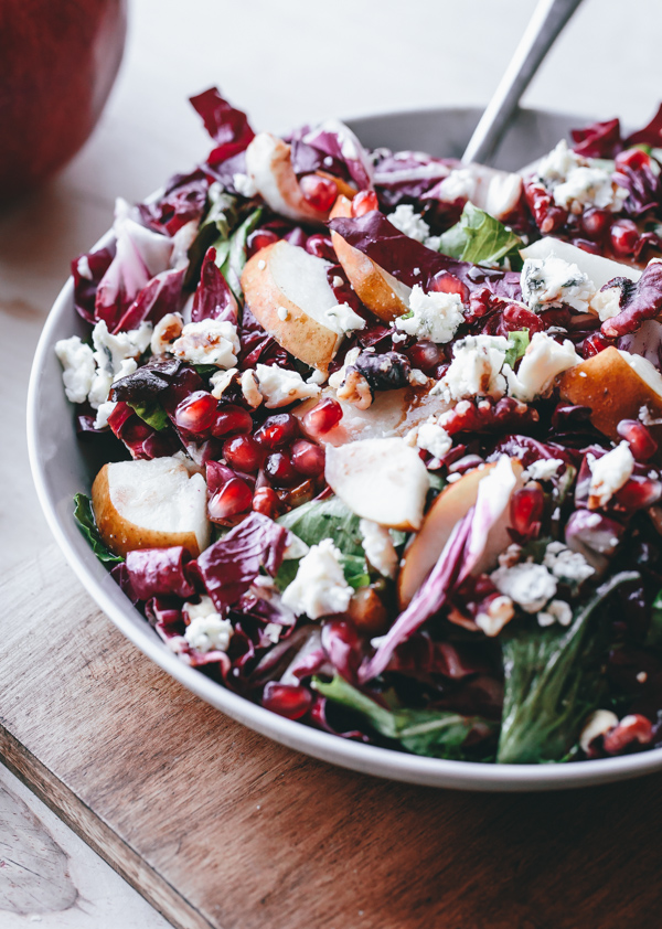 12 Healthy Winter Recipes: Pear, Radicchio, Gorgonzola, Pomegranate Salad
