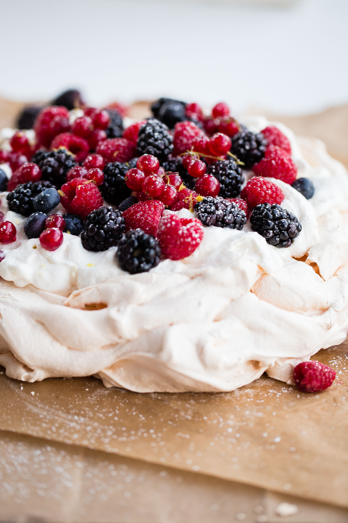 Berry Pavlova with Lemon Whipped Cream - A Beautiful Plate