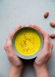 Turmeric Almond Milk - a lightly sweetened warm drink made from turmeric, almonds, and milk and infused with saffron and cardamom!