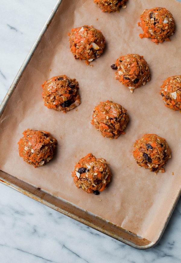 Carrot Cake Breakfast Cookies on Baking Sheet