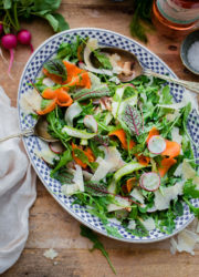 Shaved Vegetable Arugula Salad Recipe with Parmesan. A beautiful summer salad filled with shaved vegetables and tossed with lemon vinaigrette!
