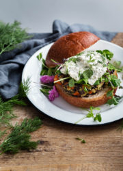 Wild Rice Veggie Burgers with Herbed Ricotta - hearty vegan veggie burger recipe made with wild rice and vegetables!