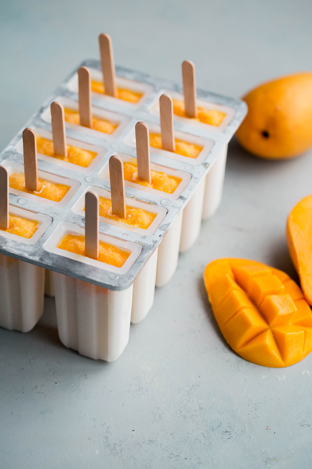 Mango Lassi Popsicles in Mold